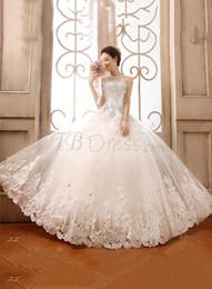 Wholesale Strapless Swarovski - 2015 Sparkle Swarovski Crystals Fashion Strapless Wedding Gowns A-Line Applique Beaded Ball Gown Wedding Dress High Quality sj306