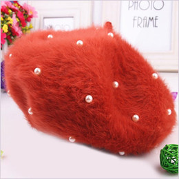 Wholesale Rabbit Fur Women - Wholesale-2015 Sale Limited Solid Adult Women Boinas Boina Feminina Hipster Joker Pearl Rabbit Fur Beret Multicolor Painter Hats