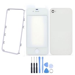 Для iPhone 4 4G 4s внешний стеклянный объектив + передняя Рамка Рамка + крышка батарейного отсека корпус + инструменты ЖК-сенсорный экран внешняя панель дигитайзер от Поставщики рама с сенсорным экраном iphone 4s