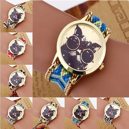 Wholesale Cat Watches For Women - Fashion Women Wristwatches Weave Women Wristwatches Cats Quartz Analog Bracelet Wrist Watches Wristwatches For Xmas Gift jewelry
