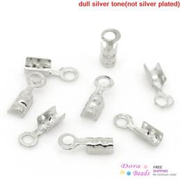 """Wholesale Silver End Caps Crimp - Wholesale-Copper Necklace  Cord Crimp End Caps W Loop Silver Tone 2mm x 7mm( 1 8""""x 2 8""""),500PCs (B28276)"""