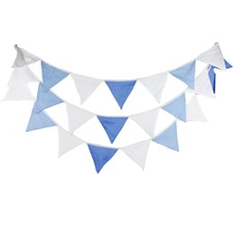 Wholesale Vintage Baby Fabric - 5.4M of 24 Flags Blue White Cotton Fabric Banners Personality Wedding Bunting Vintage Party Birthday Baby Shower Garland Decoration
