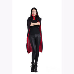 Wholesale Black Halloween Capes - New Halloween Vampire Black Red Cape Unisex Adult Children Collar Cloak Party Club Carnival Costume