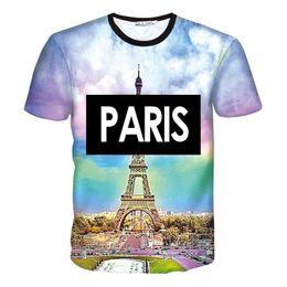 Wholesale Eiffel Tower T Shirt Men - Hot Sale 3d t shirt print PARIS Eiffel Tower men women tops tees O-neck short sleeve T shirts Camiseta free shipping