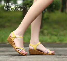 Wholesale Soft Sole Casual Leather Shoes - New 2016 famous summer sandals women shoes comfortable soft-soled fashion shoes printing Wedges genuine leather shoes women sandals shoes
