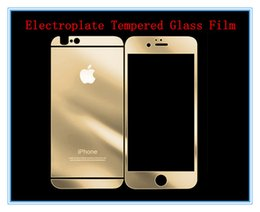 """Wholesale Iphone Mirror Lcd - Mirror Explosion-Proof LCD Guard Film Plating electroplate Tempered Glass Front&back Screen Protector Film For iPhone6 4.7""""5.5"""" 5 5s MQ500"""