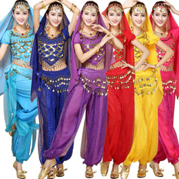 Wholesale Indian Costume Dress - 4pcs Sets India Halloween Egypt Belly Dance Costumes Bollywood Costumes Indian Dress Bellydance Dress Womens Belly Dancing