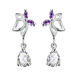 Wholesale Cheap Diamond Shaped Earrings - Cheap Chinese Earring Silver Plating Plant Shape Earring With Teardrop Shape Crystal Pendant Hot For Women