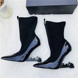 Wholesale Unique Boots - Black Women Patent Leather Pumps Unique Appelle Heels Mary Jane Shoes Ankle Strap Pointed Toe Dress Wedding Shoes Ankle Boots Original Box