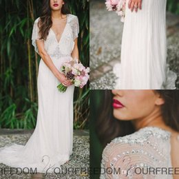 Wholesale Sheath Goddess Beach Wedding Dress - Jenny Packham Tuscan Sheath Wedding Dresses For Bohemian Boho Beach Grecian Goddess Brides Retro 2015 Spring Backless Crystal Bridal Gowns