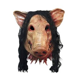 Wholesale Long Dress For Masquerade Party - Halloween Party latex Mask Scary Pig Mask with Long Black Hair Full Head Cospaly Animal Latex Mask Masquerade Fancy Dress Carnival Mask