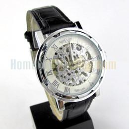 Wholesale Steampunk Wrist Watches - Winner Brand white dial Hollow Steampunk Skeleton Mechanical clock black leather Wrist Watch Men Free shipping