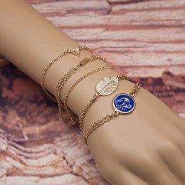 NEUE Böhmische Goldfarbe Blatt Anker Dreieck Anhänger Legierung Kette Armband Für Frauen pulseira feminina 5 Teile / los Kette Schmuck von Fabrikanten