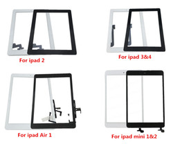 Wholesale ipad mini touch screen - Front Glass For iPad 2 3 4 5 Air Mini 1 2 Touch Screen Digitizer Flex Cable Home Button Assembly With Adhesive
