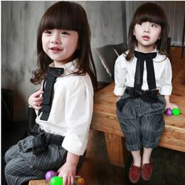 Wholesale Striped Pants Cheap - 10%OFF wholesale 2015 CHEAP 2-7 AGE baby girl summer clothing fashion 10pcs(5PCS Bowknot T-shirt+5PCS striped pants)children clothing ZW
