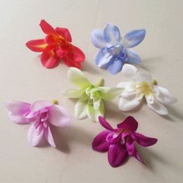 Wholesale White Orchid Heads - 120pcs Orchid flower heads 7.6cm 3 inch Butterfly Orchid Phalaenopsis Artificial Fabric Silk Chrysanthemum Flowers Flower Head