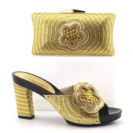 Wholesale Heel Sandals Online - Gold New Arrival African Women Heels Shoes And Bag For Party Fashion Rhinestone Adult Sandal Pumps Matching Bag Online Free Shipping