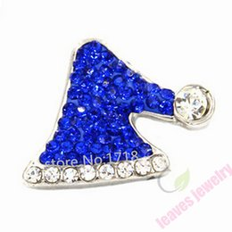 Wholesale Wholesale Hats Brass - Christmas gift Snap Jewelry Button For Bracelet Necklace Fashion DIY Jewelry Blue Crystal Santa's Hat Christmas Collection Snaps