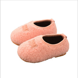 Wholesale Baby Home Shoes - Wholesale 2017 cute winter warm thicken plush kids indoor home shoes for baby girls boys slipper cow muscle soft sole sizes 15-25