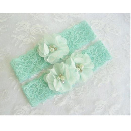 Wholesale Green Bridal Garter - 1 pair Mint Green Wedding Garter Set with Toss Garter in Mint Lace Bridal Garter with Chiffon Blossoms pearls and rhinestones