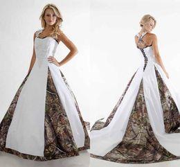 2017 Glamorous Camo Vestidos de novia de encaje Correas Camuflaje blanco Vestidos de novia Vestidos Criss Cruz Volver Vestido De Novia Capilla de tren desde fabricantes