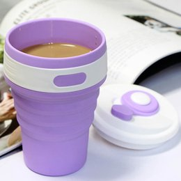 Wholesale Extension Lens - 350ml Collapsible Portable Fold Mugs with Lid Food Grade Silica Gel Extension-type Cups Outdoor Travel Sports Coffee Cup Random Color