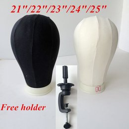 Wholesale Black Hair Tools - Canvas Block Mannequin Head Cork Surface Needle in Canvas Head for Wig Dispaly Black and beige hair extensions tools