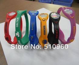 Wholesale Teams Energy Bracelet - Wholesale-Wholesale 100PCS lot Mix 6 Teams Energy Band Wristband Bracelet with Retail Package Box SP012
