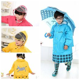 Wholesale Raincoat Women Large - New Upgraded Fashion Kids Rain Coat Transparent Large Brim Three Colors Children with Schoolbag Bit Raincoat (S, M, L, XL, XXL)