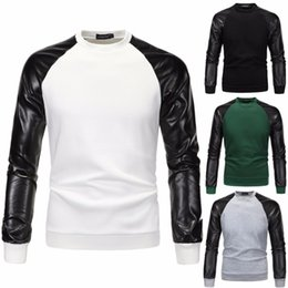 Wholesale Men Leather Sweatshirts - 2017 Autumn Men Hoodies Patchwork Hoodies Jacket Leather Sleeve Fashion Coat Brand Sweatshirt Pullover Tracksuits PU