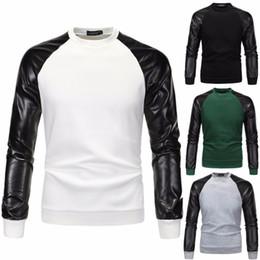 Wholesale Leather Sweatshirt Men - 2017 Autumn Men Hoodies Patchwork Hoodies Jacket Leather Sleeve Fashion Coat Brand Sweatshirt Pullover Tracksuits PU