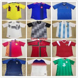 Wholesale France Soccer Team - 2018 Russia World Cup Soccer Jerseys National Team Spain England Germany Portugal Italy France Ireland Argentina Colombia Football Shirts