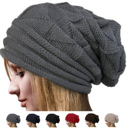 Wholesale Woven Winter Beanies Wholesale - Women fashion loose wool cap Korea Women Chic Baggy Beanie Slouchy weave Knit Ski Hat Skull Cap Warm colors