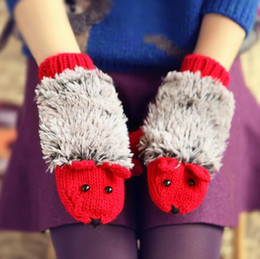 Wholesale Coral Heating - Lovely Hedgehog Cartoon Gloves Women Winter Warmer Knitted Crochet Wrist Coral Fleece Heated Mittens Erinaceus Outdoor Gifts Factory price