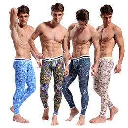 Wholesale Gray Trousers Men - Hot Men's Cotton Pajama Long Johns Bohemia Bottoms Long Thermal Underwear Long Johns Bodysuit Keep Warm Zentai Leggings for Men