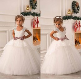 Wholesale Net Lace Short Dresses - 2018 New Cute Off Shoulder Lace Sash Ball Gown Net Baby Girl Birthday Party Christmas Pageant Dresses Children Flower Girl Gowns BO8551
