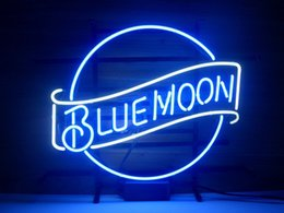 "Wholesale Beer Bar Pub Light - New Blue Moon Light Neon Beer Sign Bar Pub Sign Real Glass Neon Light Beer Sign 17""X14"""