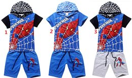 Ensembles de vêtements d'été spiderman à vendre-Spiderman Garçons d'Été de Vêtements de Sport Court Hoodies Cinquième Pantalon 2PCS Set Enfants, Vêtements de sport Set 5Sets/Lot/Couleur