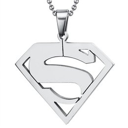 Wholesale Ms Plate - ZHF Jewelry Superman logo Healthy Necklaces Man necklace Ms necklace The high-quality goods titanium steel necklaces Free shipping