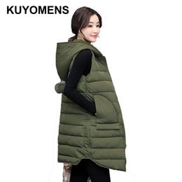 Wholesale down vest fur collar - KUYOMENS Women Winter Vest Waistcoat 2017 Women Long Vest Sleeveless Jacket Faux Fur Collar Hooded Down Cotton Warm Vest Female
