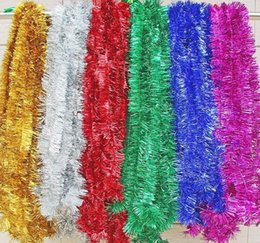 Wholesale Tinsel Xmas Decorations - 1 PCS 2 Meter Christmas Xmas Tree party Tinsel Rose Pink Green Silver Gold Red Blue Decorations