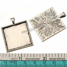 Wholesale Cameo Necklace Sets - glass cabochon photo cameo set charms pendants diy bracelets necklace sliders square single tibetan silver metal 36mm jewelry findings 50pcs