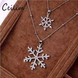 Wholesale Long Flower Crystal Pendant Necklace - Fashion Jewelry Snowflake Charm lady Necklace Pendants With Long Chain Multilayer Crystal Frozen Flower Necklaces Jewelry For Women