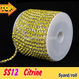 Wholesale High Quality Citrine - Wholesale-2015 Iron On Transfers Pedras De Cristal High Quality 3mm Citrine Rhinestone Cup Chain Ss12 Densify Claw Silver Base 5yard roll
