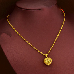 Wholesale 24k Gold Necklace Heart - yellow Hollow heart-shaped pendant necklace for women, 24k gold plated Wave chain necklace ,2016 fashion collie jewelryr