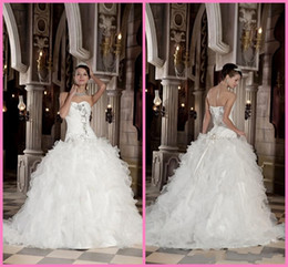 Wholesale Sexy Wedding Dress Costumes - 2015 Wedding Dresses graceful Exquisite A-line Sweetheart Flouncing Applique Floor length Court Organza A-Line Wedding costumes bridal gowns