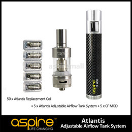 Wholesale Replacement Works - Original Aspire 5pcs Aspire Atlantis Tank+50pcs Atlantis Replacement O.5Ohm Coil+5pcs CF MOD Work With 18650 Battery Vaporizer Free Shipping