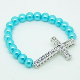 Wholesale Side Ways Cross Charms - Charm Fashion Honesty Mix Color Turquoise Handmade Side Ways Sideways Cross Bracelet Jewelry Finding free shipping