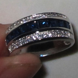 Wholesale Size Ring Sapphire - Mens Blue Sapphire Gemstone CZ 10KT White Gold Filled Band Ring Size 8,9,10,11,12