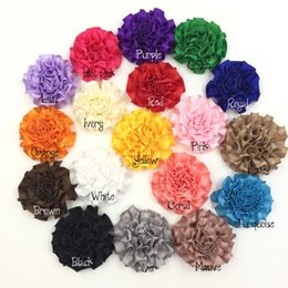 Wholesale Ruffles Clips - 2inch Satin Ruffled Flower DIY Crafting Baby Girl Hair Accessory Without Clip Felt Back 54pcs lot